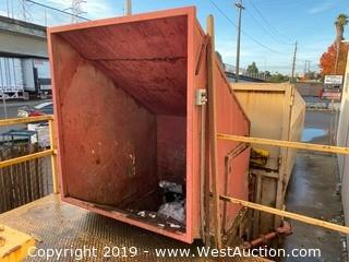 Stationary Trash Compactor with Feeder and Walk-up Ramp