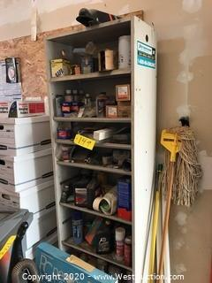 7 Ft. Tall Shelf Unit With Contents of Parts and Fluids