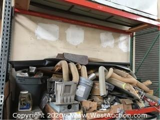 Bulk Lot: Shelf of Conveyor Legs, Vent Hoses, Table Saw, Spools of Rope, 20 Space Junction Box, & More