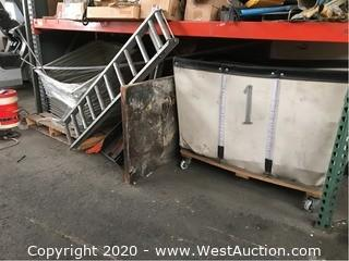 Bulk Lot: Aluminum Framing, Caution Gates, Large Wooden Furniture Dolly, Laundry Bin of Air Hoses, Conveyor Rollers, & More
