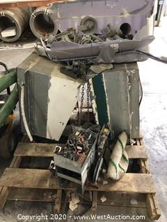 Mixed Lot: (2) Commercial Exhaust Vents, Bin of Rolling Gate Parts, Incomplete Electric Gate Motor