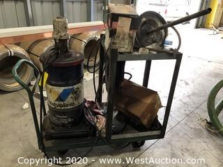 Mixed Lot: Lube Station on Custom Shop Cart, Retracting Hose Reel