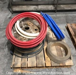Mixed Lot: Sharkbite PEX Pipe, Commercial Kick board, Spool of Steel Cable