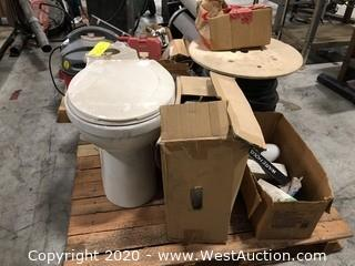Mixed Lot: Spool of Weatherstripping, Delta Toilet Bowl & Tank