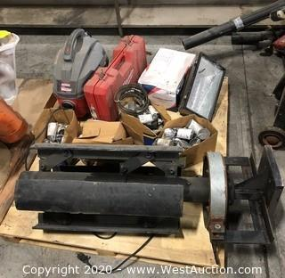Mixed Lot: Craftsmen Mini Shop Vac, (2) Floodlights, Custom Built Recoiler, Boxes of Sigma Lampholders