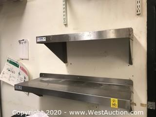 (2) Wall Mounted Stainless Steel Shelves