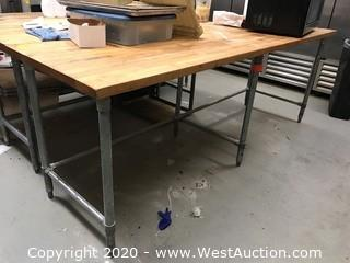 "96""x30"" Stainless Steel Table with Butcher Block Top"
