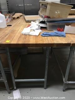 "Stainless Steel Work Table with Butcher Block Top 72""x30"""
