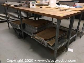 8'x2' Stainless Steel Work Table with Butcher Block Top and Baking Trays