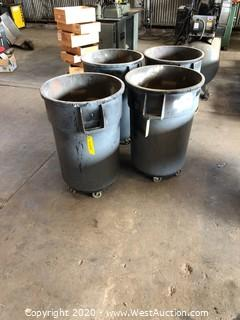 (4) Rubbermaid Garbage Cans On Casters