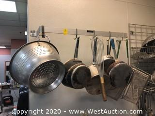 (2) Wall Mounted Pot Rack and Contents