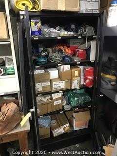 Storage Cabinet with Contents of Safety Equipment, Respirators, Filters, Gloves and More