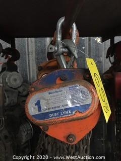 (1) Duff-Norton LHH-1B 1-Ton Chain Hoist