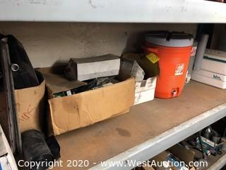 (1) Shelf with Automotive Tools and Igloo Coolers