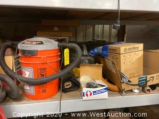 Contents of Shelf; Nibco Tools, Vacuums, Cases