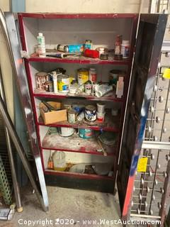 Metal Storage Cabinet with Paint and Chemical Contents