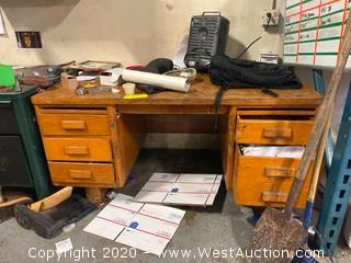 Wooden Desk with Contents