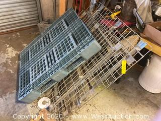 (3) Pallet Racking Grates and (1) Plastic Pallet