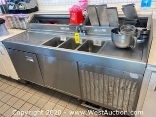 Bastian Blessing Stainless Ice Cream Counter with 3 Basin Sink and Refrigerator