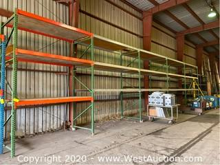 (5) Sections of 12' Pallet Racking with (30) Cross Beams