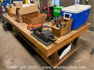 4'x8' Wooden Shop Table / Work Bench (No Contents)