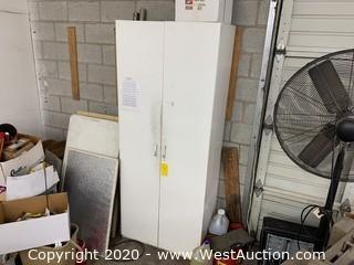 """80"""" White Two Door Storage Cabinet"""