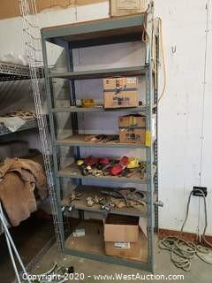 Metal Shelf Rack with Contents; Gauges, Tools