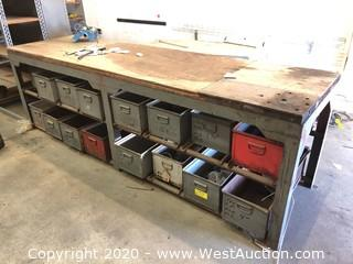 Steel Frame 10' Workbench with (16) Steel Bins Storage Underneath & Contents