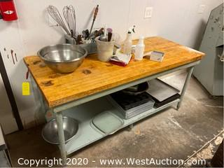 6' Metal Work Table With Butcher Block Top and Under Shelf (Contents Included)