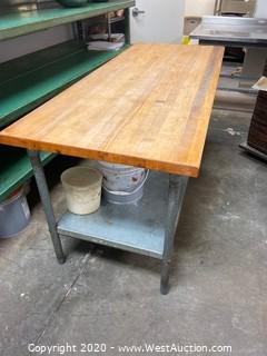 6' Metal Table With Butcher Block Top and Under Shelf (Contents Not included)