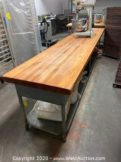 "147"" Metal Table With Butcher Block Top and Under Shelf (Contents Not included)"