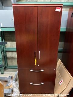 Dark Wood Finish Office Storage Cabinet