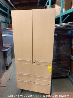 Light Wood Finish Office Storage Cabinet