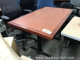 "Wood Top Metal Base Table 48"" x 30"""