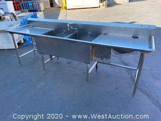 Stainless Steel Two Basin Sink w/ Double Drainboards