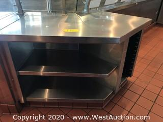 Angled Stainless Steel Work Station with Shelves and Tray Rack