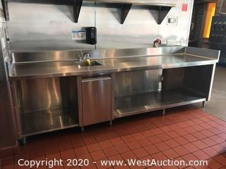 NSF Stainless Steel 10' Prep Table/Work Station with Sink