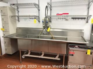 GSW 3-Basin Stainless Steel Sink with 2 Drainboards
