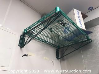(2) Eagle Green Exposy Wall Wire Shelves