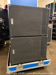 (2) Stage Right Nexo GEO-SUBs In Custom Road Case