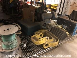 Bulk Lot: Shelf of Cable Spools, Chock Blocks, Hilti Pump, (2) Goodway Tube Cleaners & More