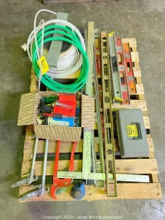 Pallet of Approx (9) Levels, Sheetrock Square, Lockout Tagout Safety Kit, Hoses, Air Nozzles, Most Cable Cutter