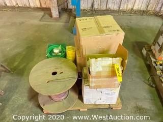 Pallet of Spools and Rolls of Assorted Cable