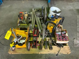 Pallet of Dewalt Stereo, Big Red 2-1/4 Ton Rapid Lift Jack, Rustoleum Striping Machine, Black And Decker Heavy Duty Saw, Hand Tools, Simalube Grease Zerk Fillers, Door Stoppers