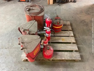 Pallet of (4) Fire Extinguishers, Eagle Safety Can, (3) Oily Rag Cans