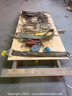 Pallet of Cables, Hoists, Rigging, and Chain
