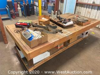 "51""x99"" Wooden Work Table and Contents"