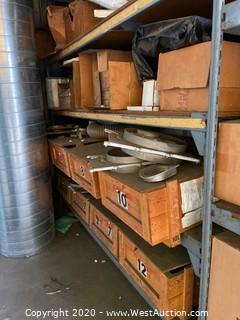 2 Shelves Of Cast Aluminum Ducting Vent Damper Valves And Air Filters