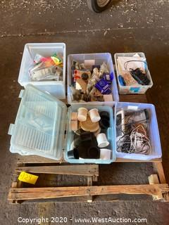 Pallet with Bins of Parts, Hardware and Accessories