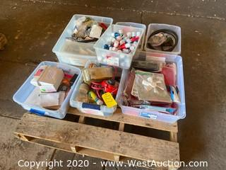 Pallet with Bins of Trailer &  RV Hardware and Accessories